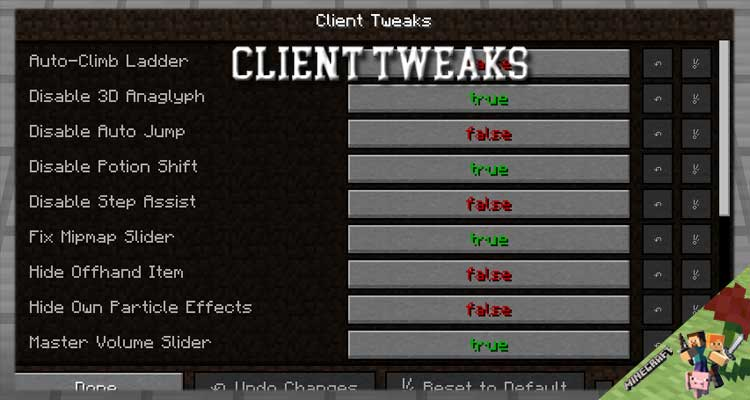 Client Tweaks Mod 1.16.5/1.12.2/1.10.2 For Minecraft